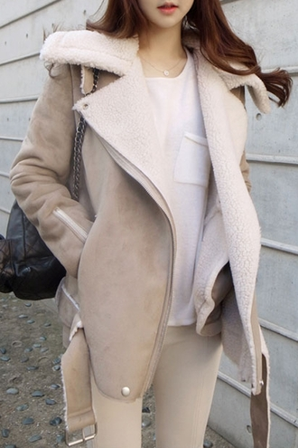 coat comfy wool streetwear streetstyle bag zaful beige winter coat jacket warm fall outfits cozy fashion style taupe