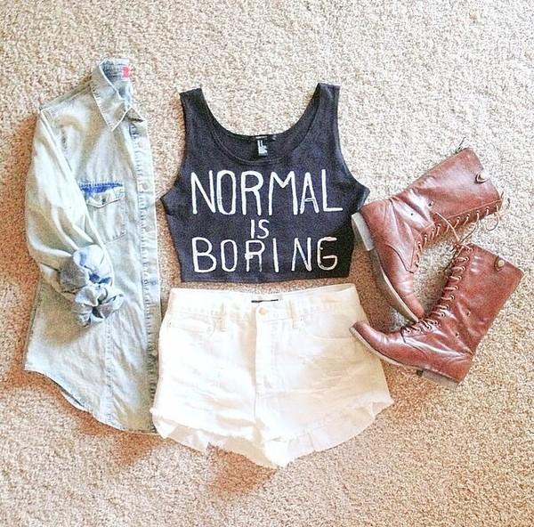 t-shirt normal is boring grey shorts shoes jacket
