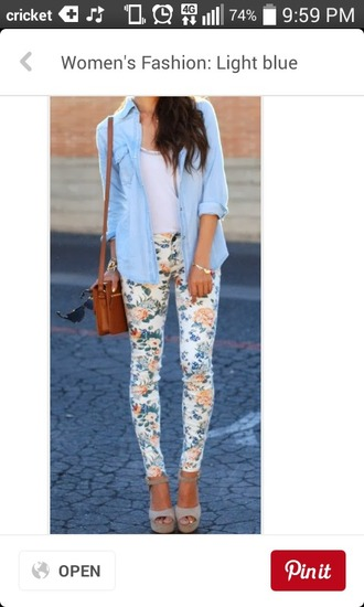 pants floral pattern floral pants blue flowers peach floral