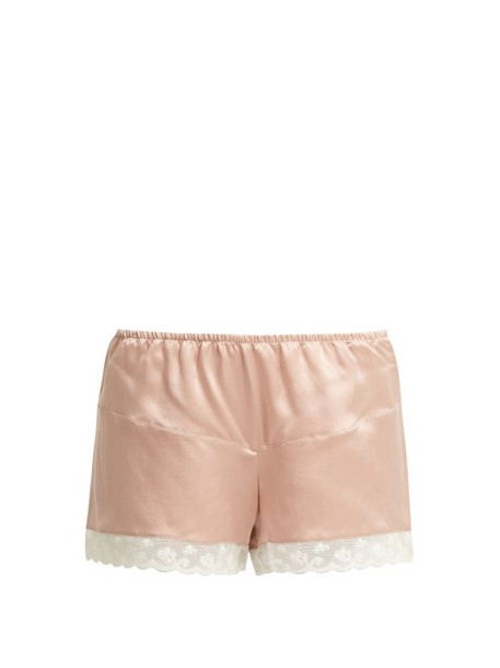 shorts dark lace silk pink