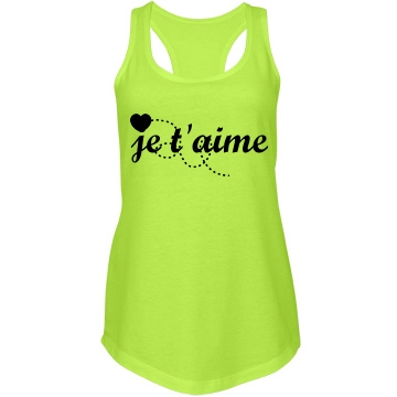 je t'aime tank: Custom Junior Fit Next Level Racerback Terry Neon Tank Top - Customized Girl