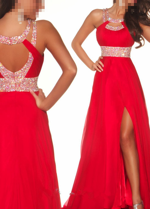 Long Red Beading Chiffon Sexy Side Slit Prom Dresses 2013 Cocktail Evening Gown | eBay