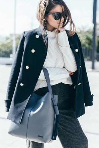 sweater tumblr black coat white sweater coat pants grey pants wool bag grey bag winter work outfit work outfits office outfits winter outfits winter look