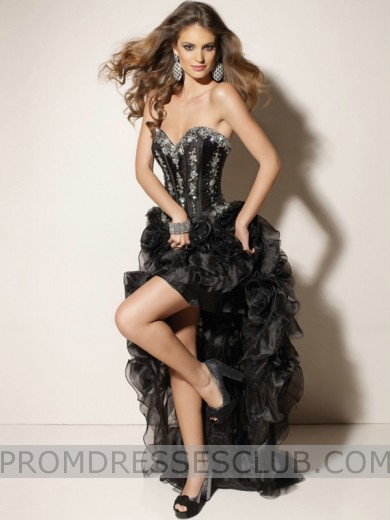 Ball Gown Sweetheart Brush Train Organza Ruffle High Low Prom Dresses