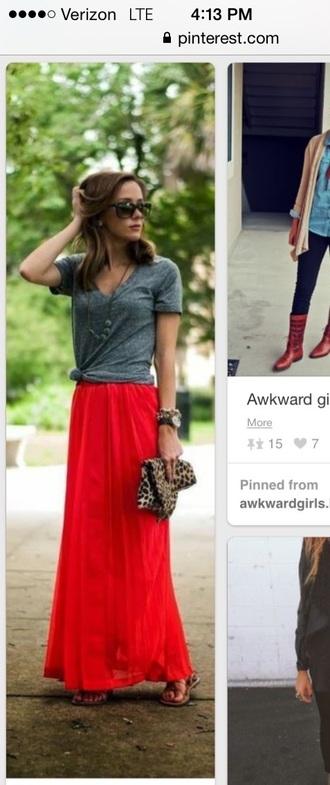 skirt maxi skirt long flowy red lime sunday