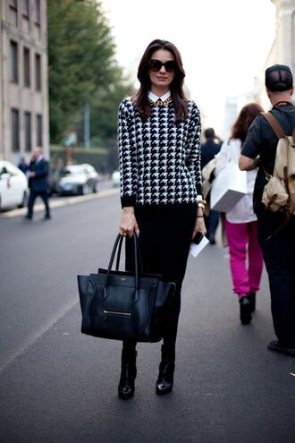 sweater work outfits office outfits streetstyle fall outfits houndstooth long sleeves bag black bag celine celine bag boots black boots tights midi skirt black skirt necklace sunglasses black sunglasses knitted skirt winter work outfit