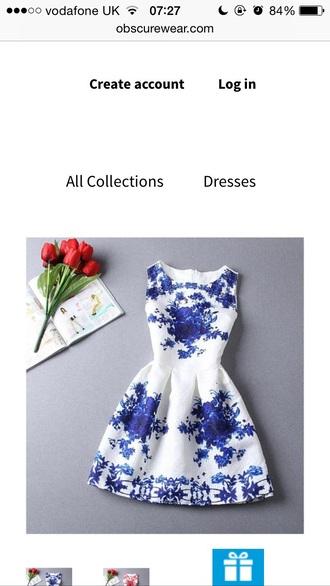 dress white dress blue flowers skater