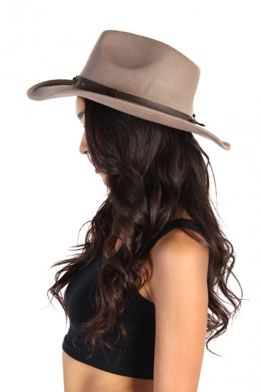 LoveMelrose.com From Harry & Molly | Felt Cowboy Hats - Mild Mocha