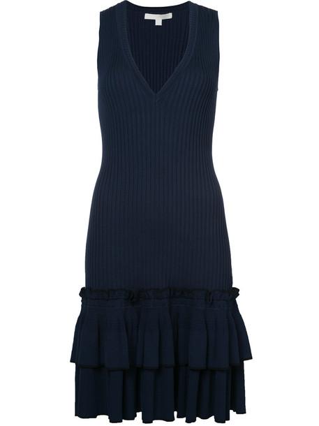 dress ruffle dress sleeveless ruffle women spandex blue