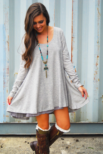 dress boho gray clothes
