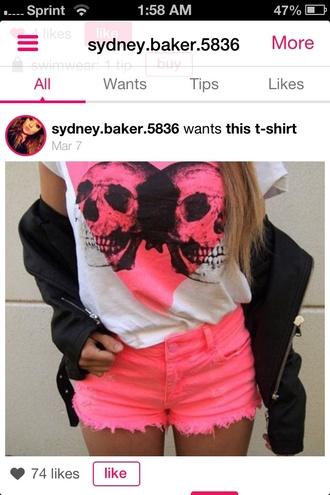 shorts hot pink shorts t-shirt skull t-shirt