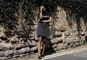 skirt,mini skirt,black denim skirt,t-shirt,slogan tee,mules,embroidered mules,blogger,blogger style