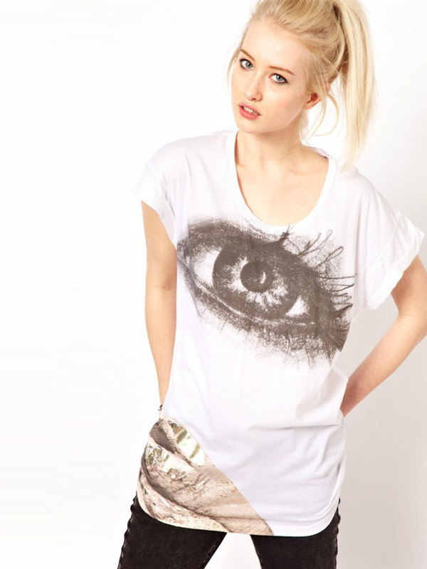 t-shirt white eyes printed shirt