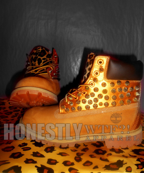 shoes timberlands spike gold hot new leopard boots cute tan