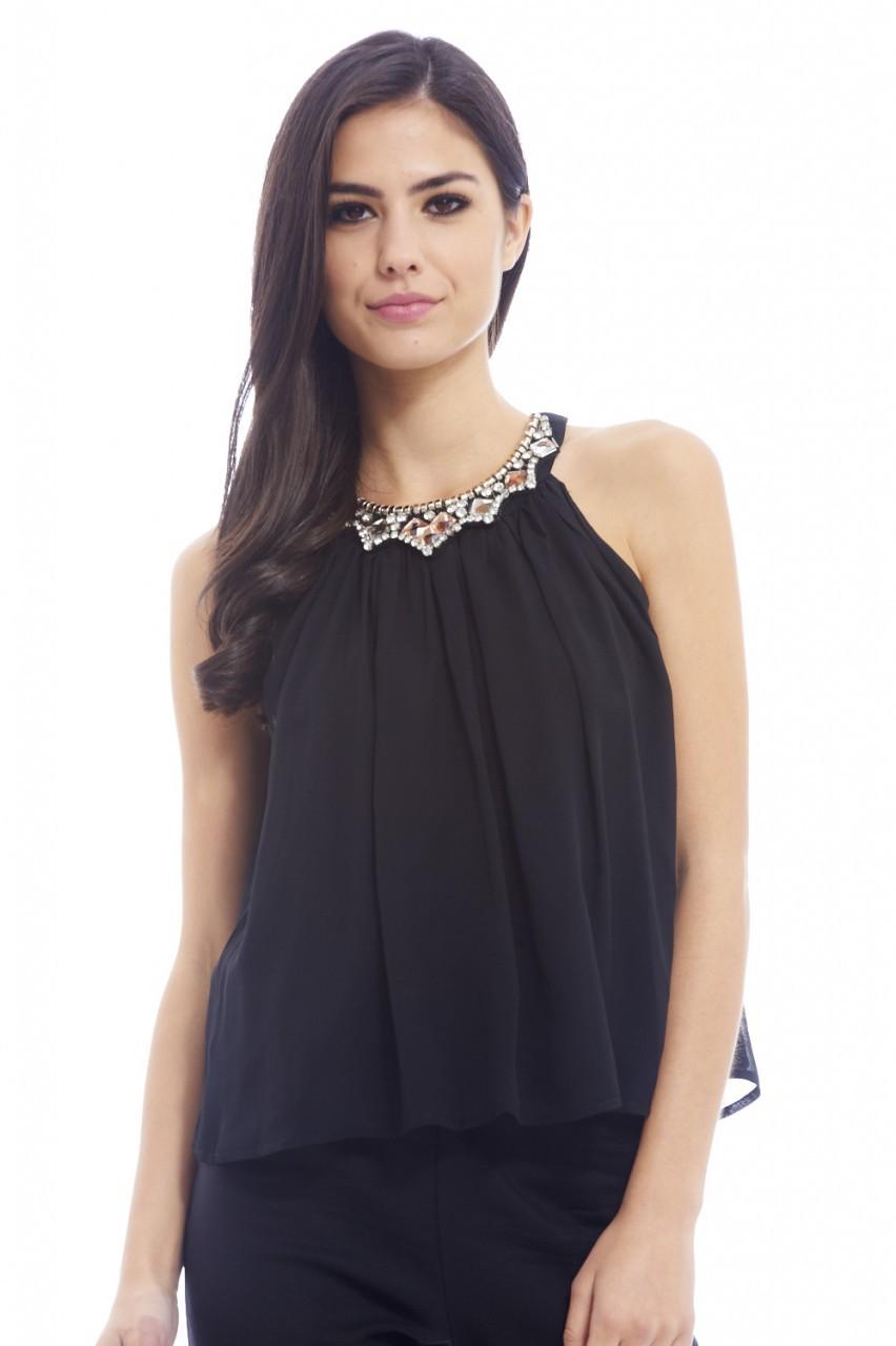 Black Chiffon Layered Jewel Detail Top