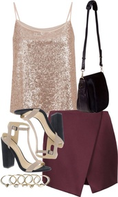 skirt,burgundy,red,wrap mini skirt,sequins,heels,cute,bag,black,cream,gold,shirt,shoes