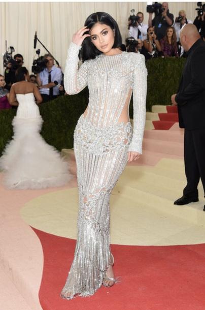 dress kylie jenner silver dress