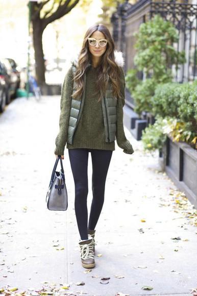 blogger sunglasses bag something navy down jacket khaki winter boots