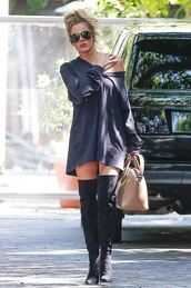 dress,tunic dress,oversized sweater,sweatshirt,over the knee boots,khloe kardashian,kardashians,sweater dress,sweater