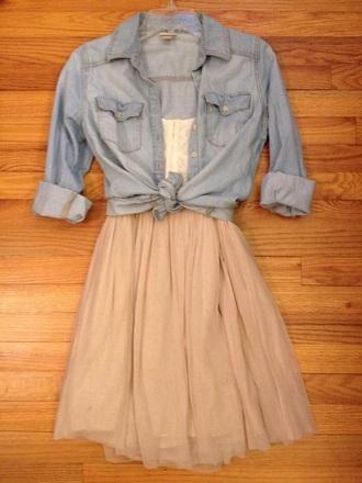 dress skirt tan dress blue jean jacket girly denim cute tumblr simple dress