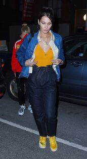 shoes,sneakers,jacket,pants,bella hadid,model off-duty,fall outfits