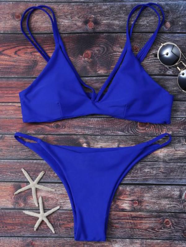 Zaful Strappy High Leg Bikini Set in blue