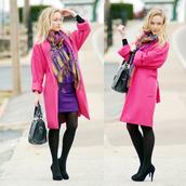 dress,pink,purple,coat,yellow,black,heels,bag,classy,outfit,blogger