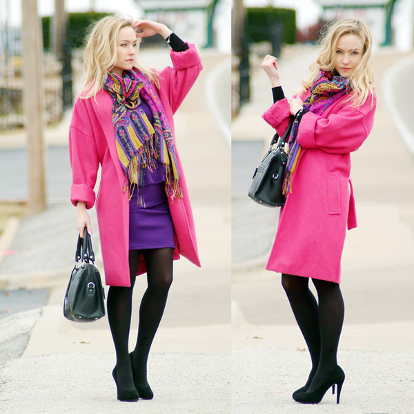 dress pink purple coat yellow black heels bag classy outfit blogger