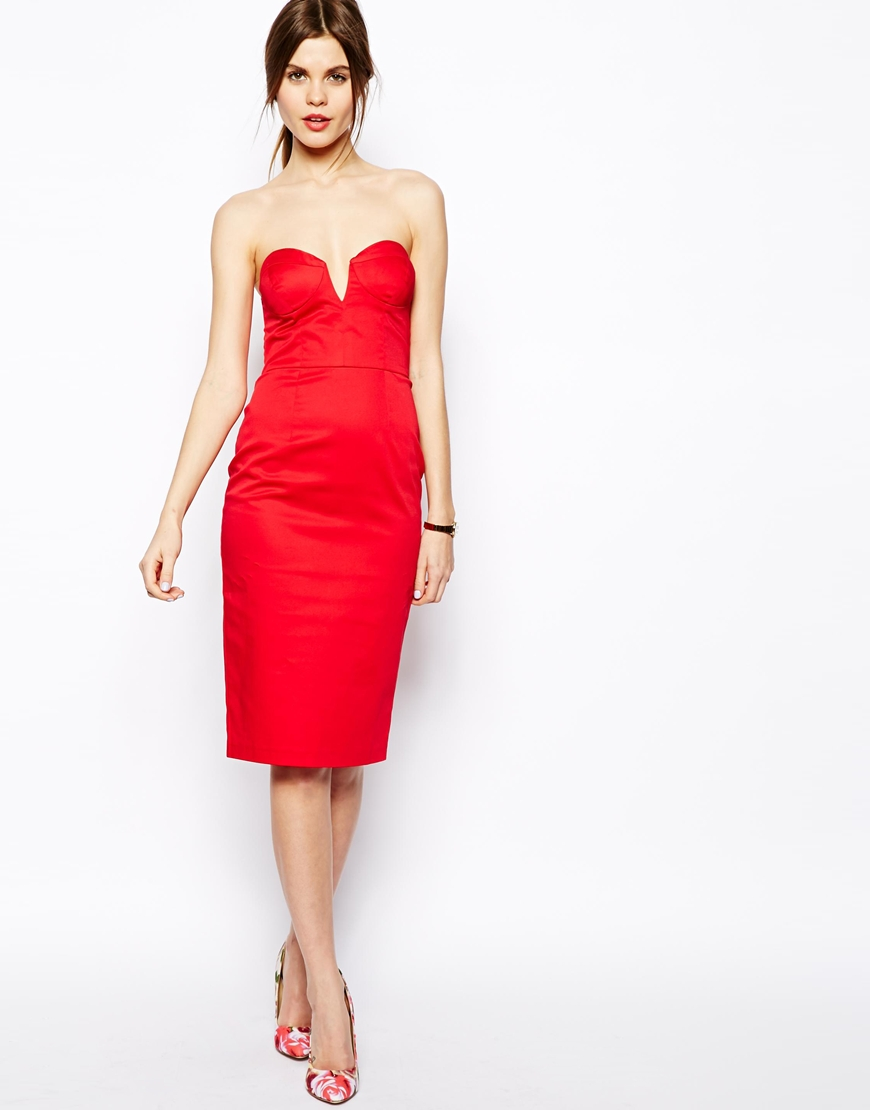ASOS Bandeau Midi Dress at asos.com