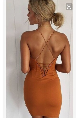 dress criss cross back orange dress bodycon dress