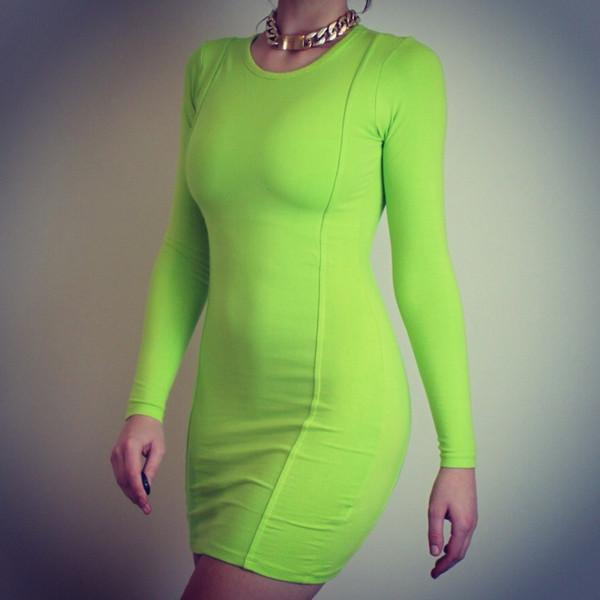 Neon green bodycon dress