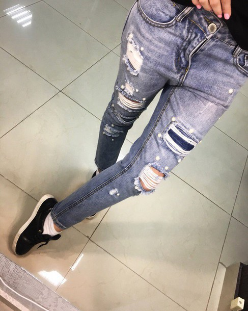 Jeans denim ripped jeans black jeans high waisted jeans skinny jeans boyfriend jeans blue ...