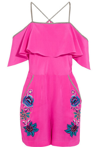 embroidered floral silk romper