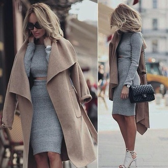 jacket fall sweater fall outfits long sleeves long sleeve dress chanel white heels lace up set two piece dress set ribbed top grey top long sleeve crop top pencil skirt grey skirt camel coat chanel bag black bag top skirt dress grey crop top