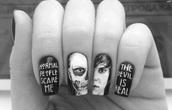 nail accessories,nails,stickers,black and white,american horror story,skull,nail polish,nail stickers,grunge,goth,nail art