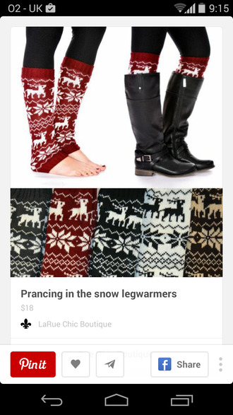 socks leg warmers christmas deer