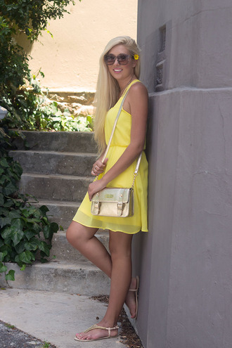 yellow dress sunglasses superficial girls blogger satchel bag sandals