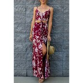 dress,red,fashion,maxi dress,floral,tan,trendy,style,rose wholesale-ma