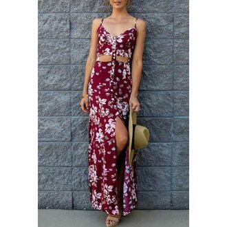 dress red fashion maxi dress floral tan trendy style rose wholesale-ma
