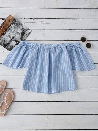 top blue off the shoulder summer spring stripes girly zaful