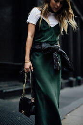 pam hetlinger,the girl from panama,blogger,dress,t-shirt,jacket,shoes,bag,sunglasses,white t-shirt,green slip dress,leather jacket