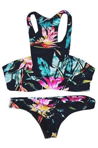 swimwear bikini fashion style trendy summer beach floral hot tropical zaful