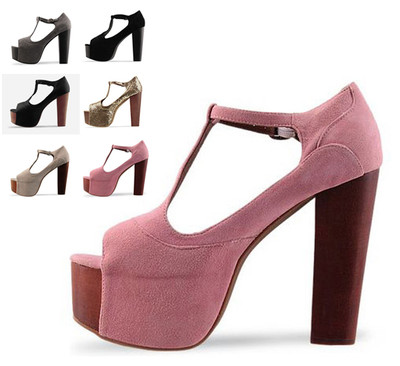 Womens Shoes Pumps Platform T Strap High Thick Heel Sandals More Colors-in Pumps from Shoes on Aliexpress.com