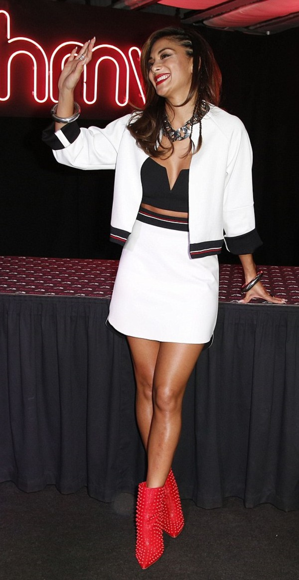 jacket nicole scherzinger skirt white top jewels