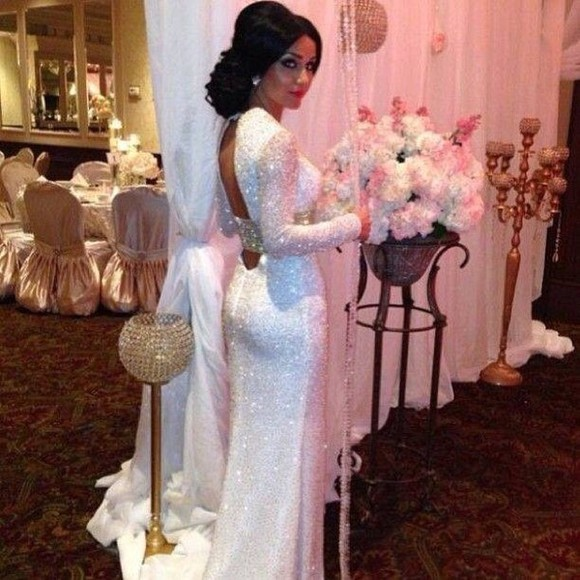 dress gold wedding dress long sleeved dress long sleeve wedding dresses white dress long prom dresses glitter dress clothes: wedding prom dress maxi dress
