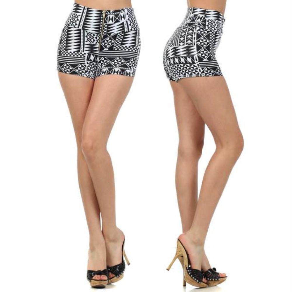 Shorts Mini s M L Aztec Tribal Print High Waist Zipper Stretch Banded Summer New   eBay