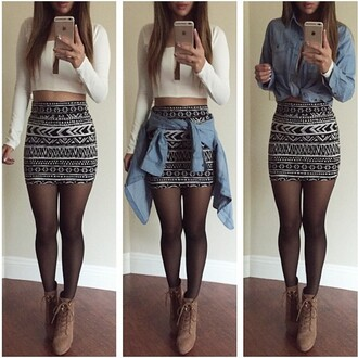 skirt tribal pattern crop tops heels