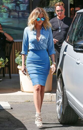 skirt pencil skirt khloe kardashian sunglasses sandals denim denim shirt denim skirt kardashians summer outfits shoes