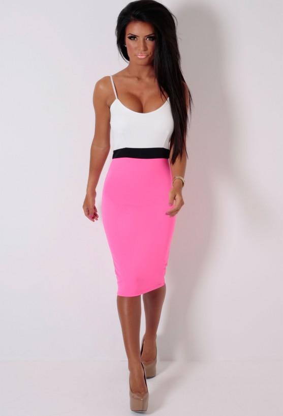 Trixie hot pink colour block midi dress