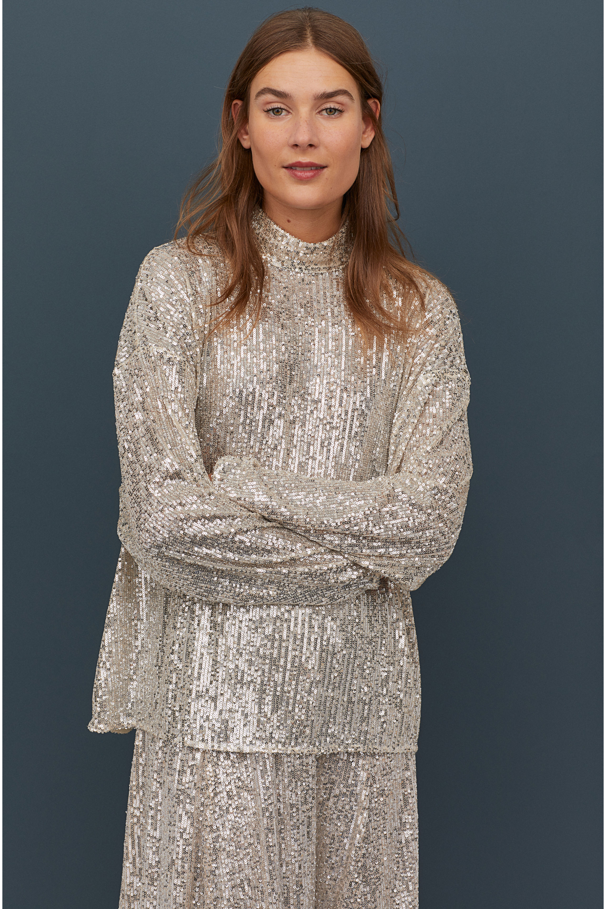 Sequined Top with High Collar - Light beige - Ladies | H&M US